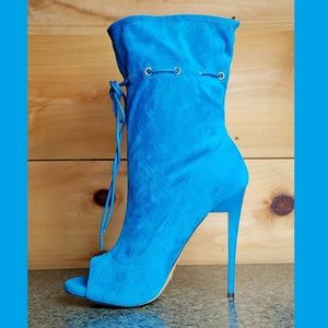 "5"" Heel Drawstring Ankle Boots Aqua Blue"